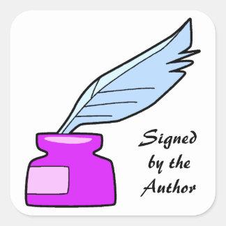 作家が署名するクイルペン スクエアシール