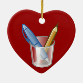作家のペンの鉛筆のコップ セラミックオーナメント