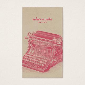 作家のヴィンテージのタイプライターのカッコいいのピンクのシンプルのモダン 名刺