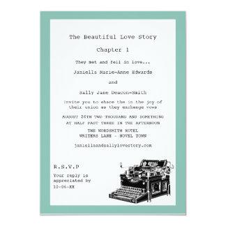 作家のヴィンテージのタイプライターのレズビアンの結婚式 カード