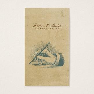 作家のヴィンテージのペン手のカッコいいのシンプルのプロフェッショナル 名刺