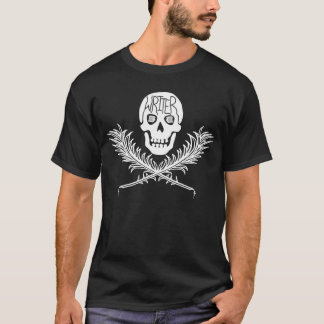 作家の白いどくろ印のクイル Tシャツ