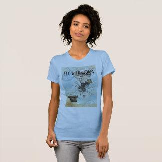 作家のTシャツ-単語のはえ Tシャツ