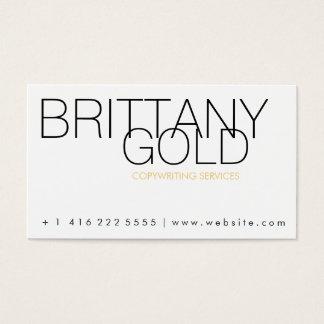 作家、作家の名刺-シックな金ゴールドおよび黒 名刺