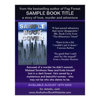 作家|作家|プロモーション|本|カバー|青い|紫色 チラシ広告デザイン