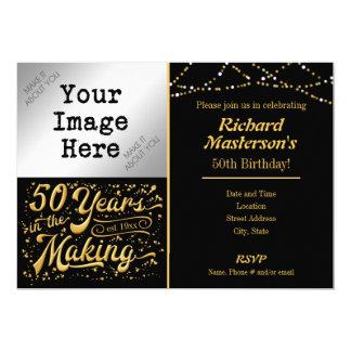 作成第50誕生日の黒及び金ゴールドの50年 12.7 X 17.8 インビテーションカード