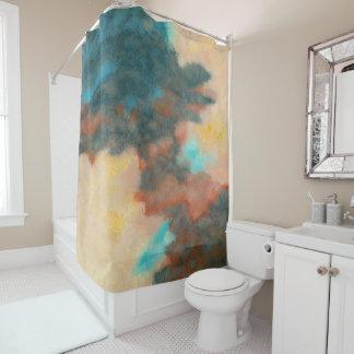 作成、抽象美術の絵画のパステルのモモのティール(緑がかった色) シャワーカーテン