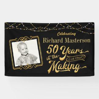 作成、黒い及び金ゴールドの第50誕生日50年 横断幕