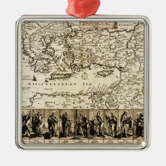 使徒のPaulPanoramicの地図の旅行 メタルオーナメント