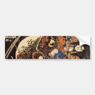 侍と化け蛙、国芳の武士および巨大なカエル、Kuniyoshi、Ukiyo バンパーステッカー