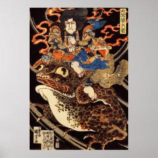 侍と化け蛙、国芳の武士および巨大なカエル、Kuniyoshi、Ukiyo ポスター