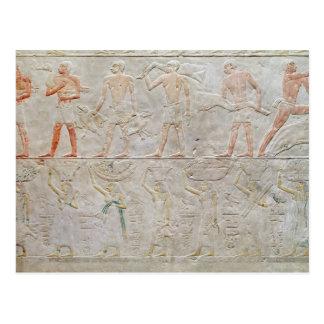 供物をの運んでいる人々を描写するレリーフ、浮き彫り ポストカード