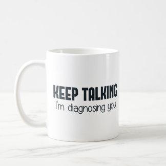 保ちま私を診断しています話します コーヒーマグカップ