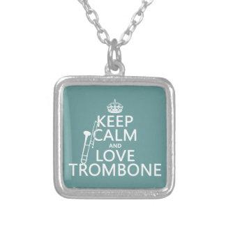 保って下さい平静および愛トロンボーン(どの背景色でも)を シルバープレートネックレス