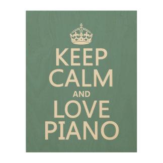 保って下さい平静および愛ピアノ(どの背景色でも)を ウッドウォールアート