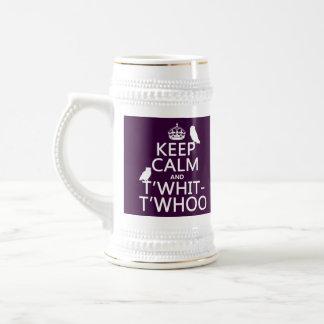 保って下さい平静およびT'Whit-T'Whoo (フクロウ) (どの色でも)を ビールジョッキ