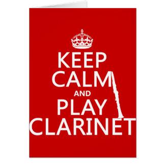 保って下さい穏やかなおよび演劇のクラリネット(どの背景色でも) グリーティングカード