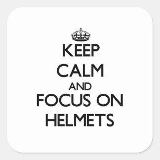 保って下さい|平静|焦点|ヘルメット 正方形シールステッカー