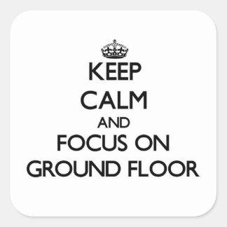 保って下さい|平静|焦点|地面|床 正方形シール