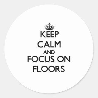 保って下さい|平静|焦点|床 丸形シール・ステッカー