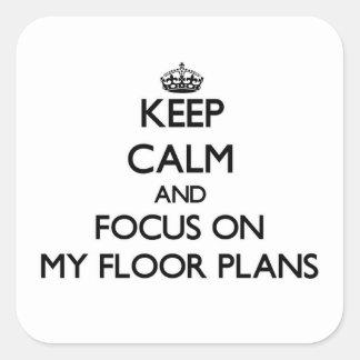 保って下さい|平静|焦点|私|床|計画 正方形シール・ステッカー