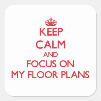 保って下さい 平静 焦点 私 床 計画 正方形シール・ステッカー
