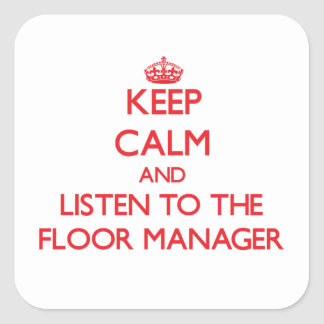 保って下さい|平静|聞いて下さい|床|マネージャー 正方形シールステッカー