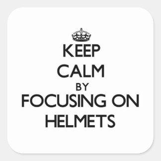 保って下さい|平静|集中|ヘルメット 正方形シールステッカー