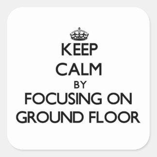 保って下さい|平静|集中|地面|床 正方形シールステッカー