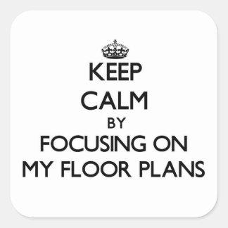 保って下さい|平静|集中|私|床|計画 正方形シールステッカー