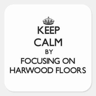 保って下さい|平静|集中|Harwood|床 正方形シールステッカー