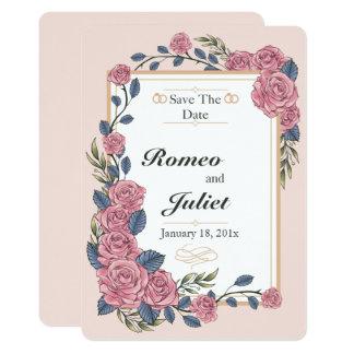 保存を結婚しているバラのフレーム日付カード カード