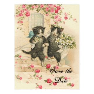 保存を結婚しているビクトリアンな子ネコ日付 ポストカード