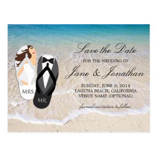 """保存を結婚しているビーチの海""""氏および夫人""""日付 ポストカード"""