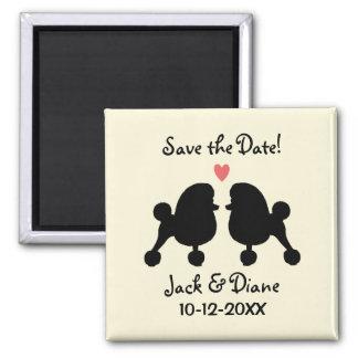 保存を結婚しているファンシーで黒いトイプードル日付 磁石
