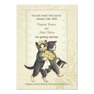 保存を結婚している優雅な猫日付 12.7 X 17.8 インビテーションカード