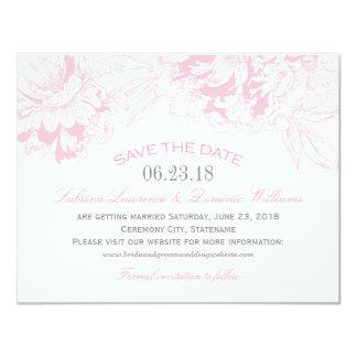 保存を結婚します日付|のピンクの花のシャクヤクのデザイン 10.8 X 14 インビテーションカード