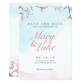 保存を結婚します日付|の水彩画の桜 カード