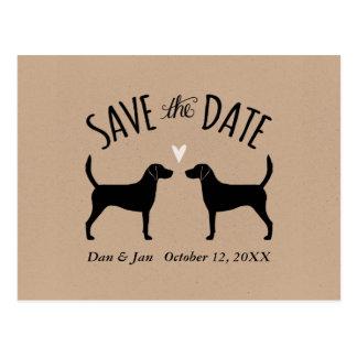 保存を結婚するハリアー犬のシルエット日付 ポストカード