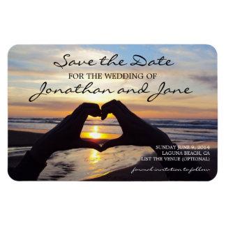 保存を結婚するビーチの海愛ハート日付 マグネット