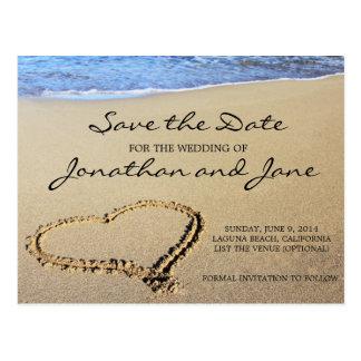 保存を結婚するビーチの海日付 ポストカード
