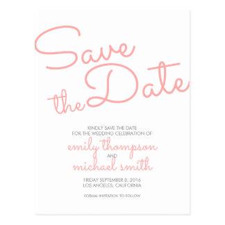 保存を結婚するピンクのモダンなタイポグラフィ日付 ポストカード