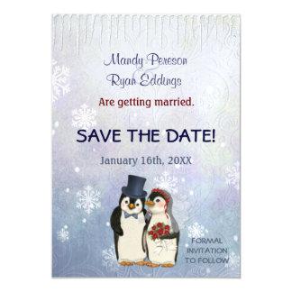 保存を結婚するペンギンの冬の雪片日付 マグネットカード