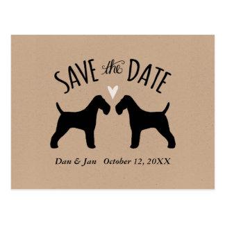 保存を結婚するワイヤーフォックステリア犬のシルエット日付 ポストカード