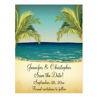 保存を結婚する夏のビーチおよびヤシの木日付 ポストカード