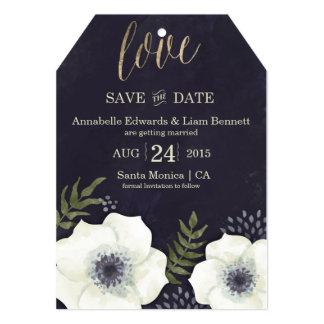 保存を結婚する夏の夜の花日付カード 12.7 X 17.8 インビテーションカード
