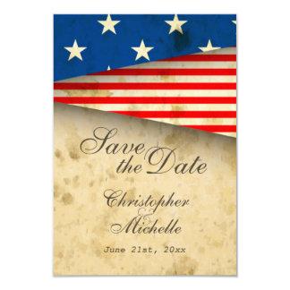 保存を結婚する愛国心が強い米国の旗のヴィンテージ日付 8.9 X 12.7 インビテーションカード