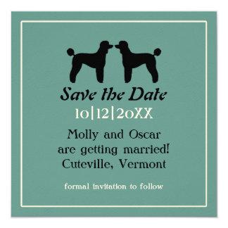 保存を結婚する標準プードルのシルエット日付 13.3 スクエアインビテーションカード