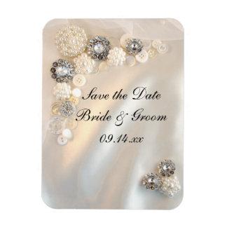 保存を結婚する白い真珠のダイヤモンドボタン日付 マグネット