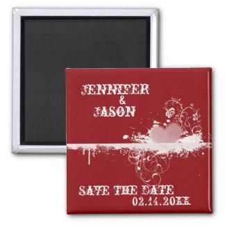 保存を結婚する赤くグランジなハート日付の磁石 マグネット